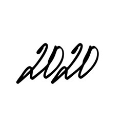 2020 hand written lettering isolated on white vector