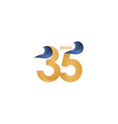 35 years anniversary celebration gold elegant vector
