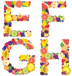 Alphabet from fruit efgh vector