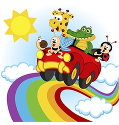 animals traveling by car over the rainbow vector image