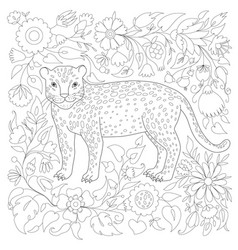 Antistress coloring page with cheetah and flower vector
