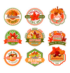 Autumn label set of fall season and sale template vector