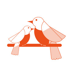 Birds on branch icon image vector