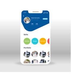 blue green orange social network profile ui ux vector image