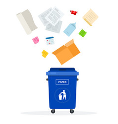 Blue trash can for paper waste flat isolated vector
