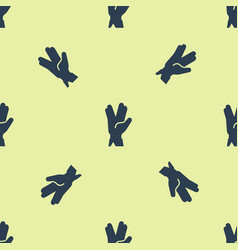 Blue vulcan salute icon isolated seamless pattern vector