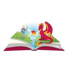 Book of fairytales with knight and dragon vector