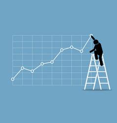 businessman climbing up on a ladder to adjust an vector image