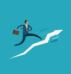 businessman running up stairway success career vector image