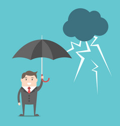Businessman umbrella and thunderstorm vector