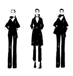 cartoon fashion models sketch hand drawn vector image