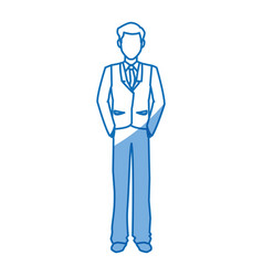 cartoon man business standing suit elegant vector image