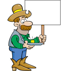 cartoon prospector holding a sign vector image