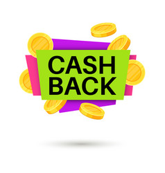 cash back banner cashback money sign isolated vector image