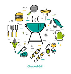 Charcoal grill - round concept vector