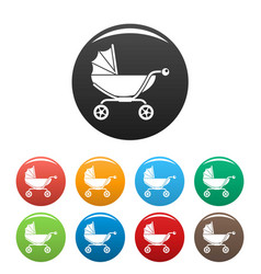 classic baby pram icons set color vector image