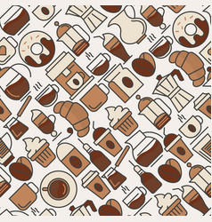 coffee seamless pattern with thin line icons vector image