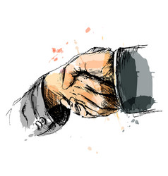colored hand sketch handshake vector image