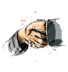 Colored hand sketch handshake vector