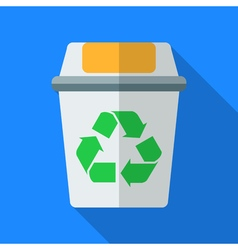 Colorful recycle bin icon in modern flat style vector