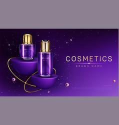 Cosmetics bottles on podium perfume ad banner vector