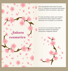cosmetics flyer template concept with sakura vector image