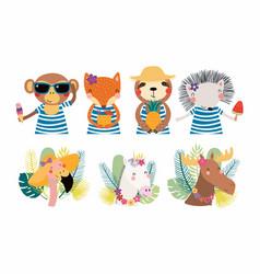 Cute summer animals set vector