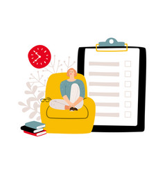 deadline concept to do list and relaxed woman vector image