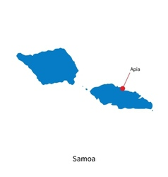Detailed map of Samoa and capital city Apia vector