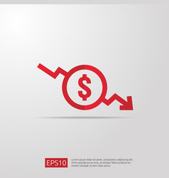 dollar decrease icon money symbol with arrow vector image