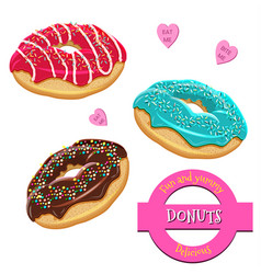 Donuts set collection of tasty donuts with vector