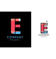 e blue red letter alphabet logo icon design vector image