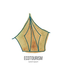 Ecotourism doodle on watercolor texture vector