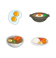 egg food icon set cartoon style vector image