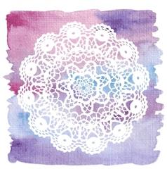 Elegant lacy doily Crochet mandala vector image