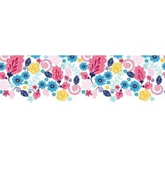 Fairytale flowers horizontal seamless pattern vector