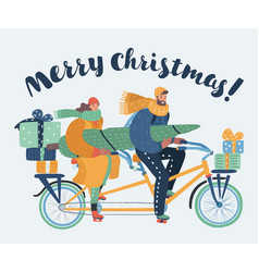 family couple ride on tandem bicycle vector image
