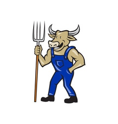 Farmer Cow Holding Pitchfork Cartoon vector