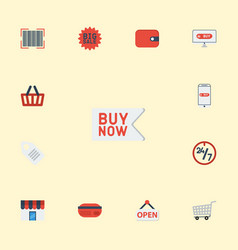 flat icons payment shop buy now and other vector image