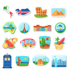fridge magnets flat abroad vector image
