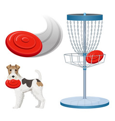 Frisbee golf game color set vector