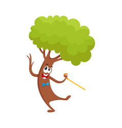 Funny comic tree character dancing step with vector