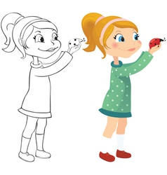 Girl and ladybug vector image