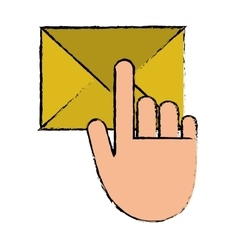 Hand touch envelope email message sketch vector