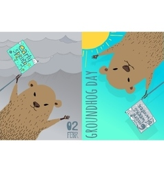 Happy Groundhog Day card design vector