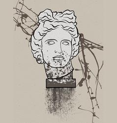 Head greek statue apollo creative poster vector