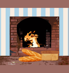 homemade bread brick oven burning flame on vector image