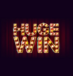 Huge win banner casino shining lamp vector