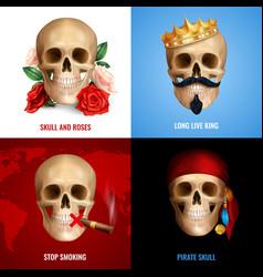 Human skull 2x2 design concept vector