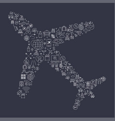 image of an airplane created from small icons vector image